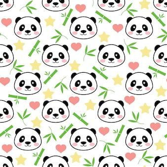 Nahtloser netter pandavektor-musterhintergrund