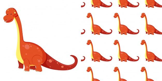 Nahtloser niedlicher brachiosaurus-dinosaurier und schatten lokalisiert auf weißem hintergrund