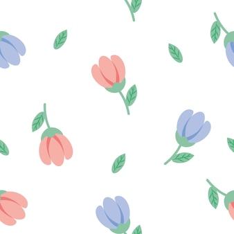 Nahtloser niedlicher vintager kleiner rosa und blauer blumenmusterhintergrund