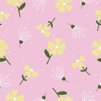 Nahtloser niedlicher weinleseblumenmusterhintergrund