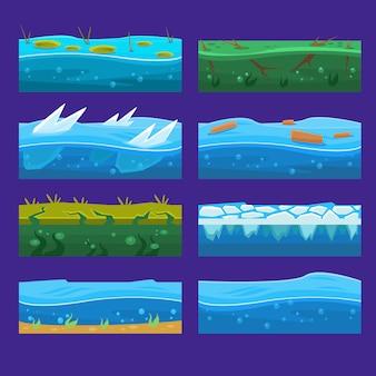 Nahtloser ozean, meer, wasser, wellenhintergründe stellten für ui-spiel in der karikatur ein