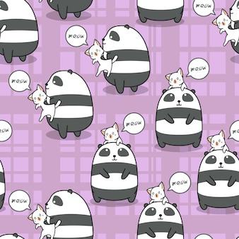 Nahtloser panda und katze ist bester freund jedes anderen musters.