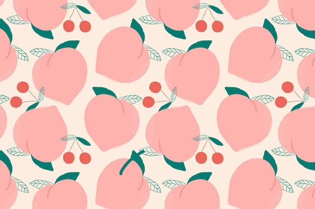 Nahtloser pfirsichmusterpastellhintergrund