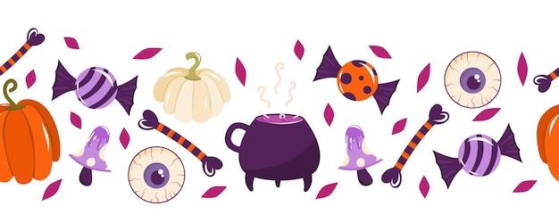 Nahtloser rand für halloween mit bonbons kürbisse knochen ein augapfel und ein hexenkessel