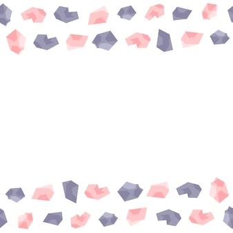 Nahtloser randrahmen aus rosa und lila edelsteinen.