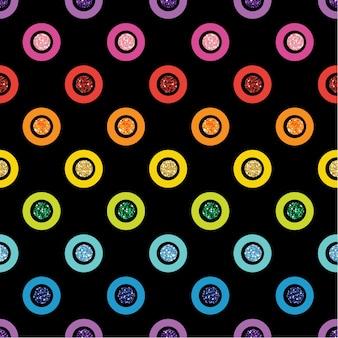 Nahtloser regenbogen bunter punkt glitter auf schwarzem hintergrund
