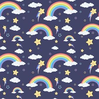 Nahtloser regenbogen mit wolken- und sternmuster auf dunkelblauem hintergrund