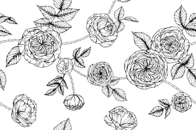 Nahtloser rosen-blumen-musterhintergrund.