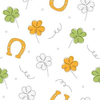 Nahtloser st. patrick-tageshintergrund. nahtloses minimalistisches muster mit klee und hufeisen auf weißem hintergrund