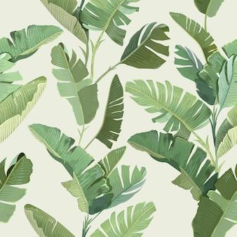 Nahtloser tropischer blumendruck mit exotischen grünen dschungel-bananen-palmenblättern auf beigem hintergrund. regenwald wildpflanzen wallpaper vorlage, naturtextilien ornament, stoffdesign. vektorillustration
