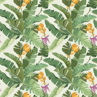 Nahtloser tropischer blumendruck mit exotischen grünen dschungel-bananen-palmenblättern, blumen und früchten auf beigem hintergrund. regenwald-pflanzen-tapete, textilverzierung, stoffdesign. vektorillustration