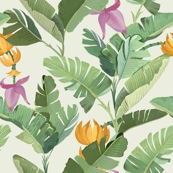 Nahtloser tropischer blumendruck mit exotischen grünen dschungel-bananen-palmenblättern, blumen und früchten, regenwald-pflanzen-tapete, textilverzierung, stoffdesign auf beigem hintergrund. vektorillustration