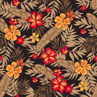 Nahtloser tropischer blumenhintergrund mit palmblättern für sommerkleidstoff