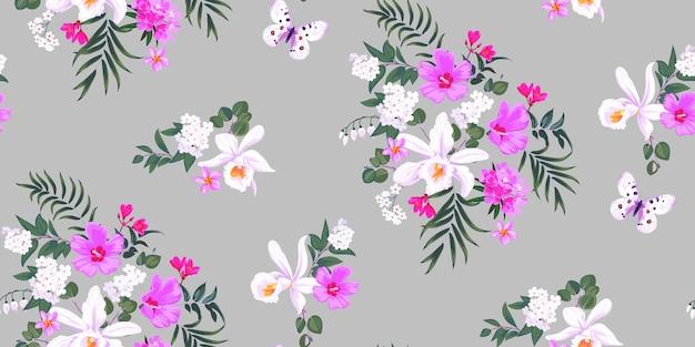 Nahtloser tropischer frühlingsblumenhintergrund mit orchideen