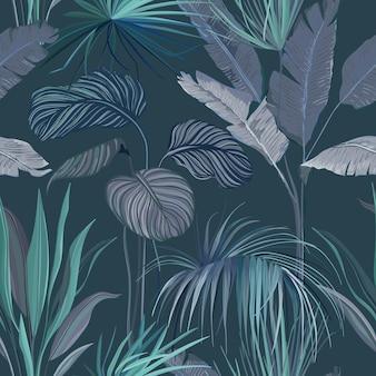 Nahtloser tropischer hintergrund, blumentapetendruck mit exotischen dschungelblättern, regenwaldpflanzen, natur-ornament für textil oder geschenkpapier dekoratives sommer-obstgarten-muster. vektorillustration