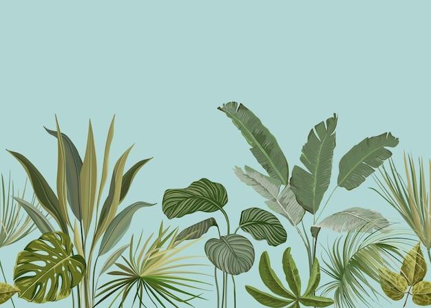 Nahtloser tropischer hintergrund, blumentapetendruck mit exotischen philodendron monstera dschungelblättern, regenwaldpflanzen, naturornament für textil oder geschenkpapier, botanische vektorillustration