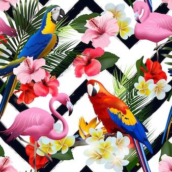 Nahtloser tropischer sommerhintergrund mit tropischen blumen und bunten papageien, mit rosa flamingo-vektorillustration.