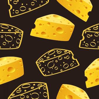 Nahtloser vektor des käse- und gekritzelkäsemusters
