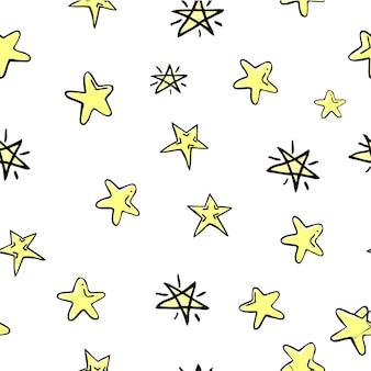 Nahtloser vektor-doodle-stern, für hintergrund, papierverpackung, banner, vorhang usw