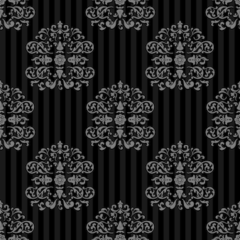 Nahtloser vektor königlicher hintergrund. graue streifen auf dunkel
