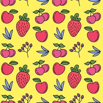 Nahtloser vektorhintergrund der frischen roten früchte