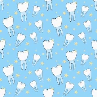 Nahtloser vektorhintergrund mit gesunden zähnen und hellem glanz