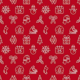 Nahtloser weihnachts- und neujahrshintergrund, vektorillustration