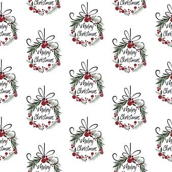 Nahtloser weihnachtsdekorationskranz mit frohen weihnachtsschreiben, traditionelle weihnachtsvektorillustration