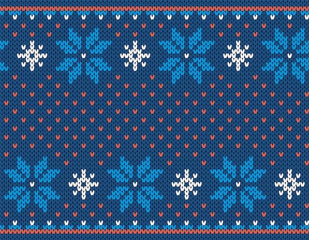 Nahtloser weihnachtsdruck. strickmuster. blaue strickpullover textur. geometrische verzierung des weihnachtswinteres