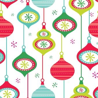 Nahtloser weihnachtshintergrund mit dekorationskugeln