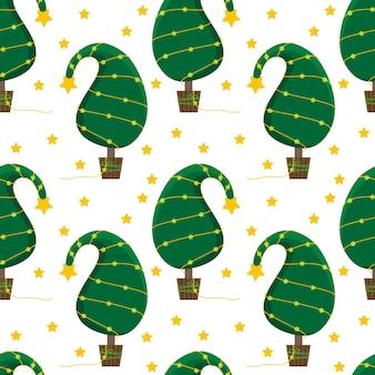 Nahtloser weihnachtshintergrund mit einem ungewöhnlichen weihnachtsbaum und einer hellen girlande