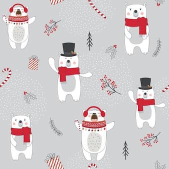 Nahtloser weihnachtshintergrund mit niedlichen bären und weihnachtsverzierung mit roter und silberner farbe