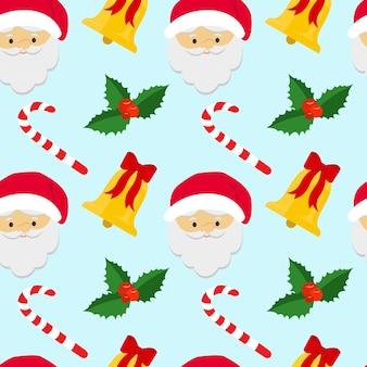 Nahtloser weihnachtshintergrund mit themenbezogenen objekten für den urlaub