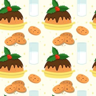 Nahtloser weihnachtshintergrund mit traditionellen leckereien