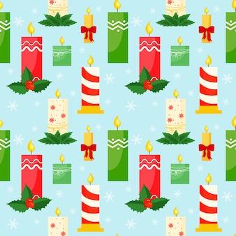 Nahtloser weihnachtshintergrund mit verschiedenen feiertagskerzen