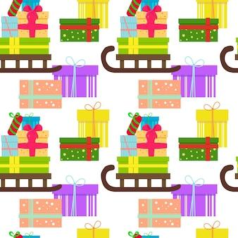 Nahtloser weihnachtshintergrund mit weihnachtsgeschenken auf holzschlitten
