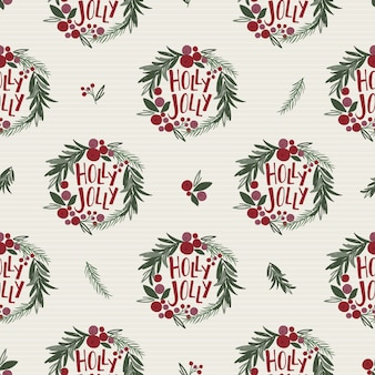 Nahtloser weihnachtskranz mit stechpalmenblatttext und beeren mit roter und grüner farbe, traditionelles weihnachtsvektorvektorillustration
