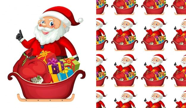 Nahtloser weihnachtsmann mit geschenken