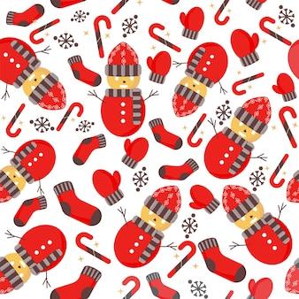 Nahtloser weihnachtsthema-muster-hintergrund in buntem.