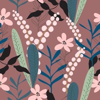 Nahtloser weinleseblumenmusterhintergrund