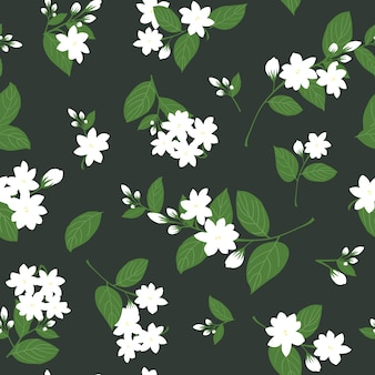 Nahtloser weißer jasmin mit blättern