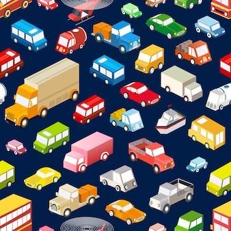 Nahtloser wiederholender hintergrund von verschiedenen isometrischen fahrzeugen, autos, bussen und lkws