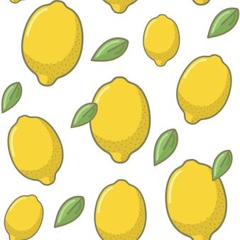 Nahtloser zitronen-frucht-muster-hintergrund