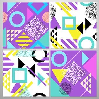 Nahtloses abstraktes geometrisches muster in retro- memphis-art