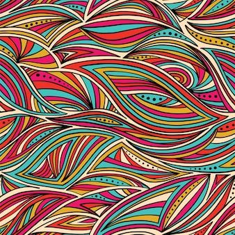 Nahtloses abstraktes handgezeichnetes wellenmuster. nahtloses muster kann für tapeten, musterfüllungen, webseitenhintergrund, oberflächenstrukturen verwendet werden.