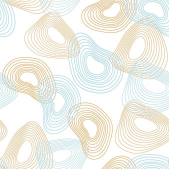 Nahtloses abstraktes muster aus dynamischen linien und verzerrten kreisen