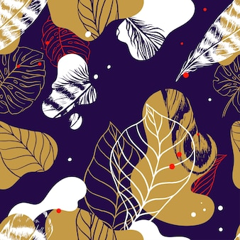Nahtloses abstraktes muster mit handgezeichneten blättern und federn