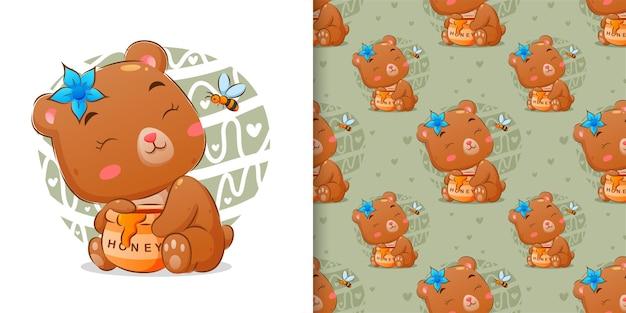 Nahtloses aquarell des honigbären, der honig von der honigglasillustration isst