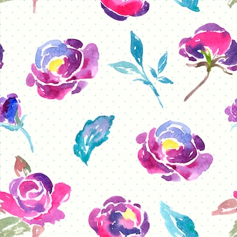 Nahtloses aquarell rose floral pattern