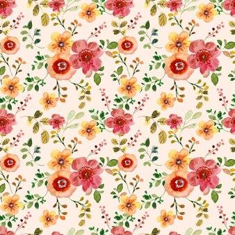 Nahtloses aquarellblumenmuster mit roten und gelben blumen